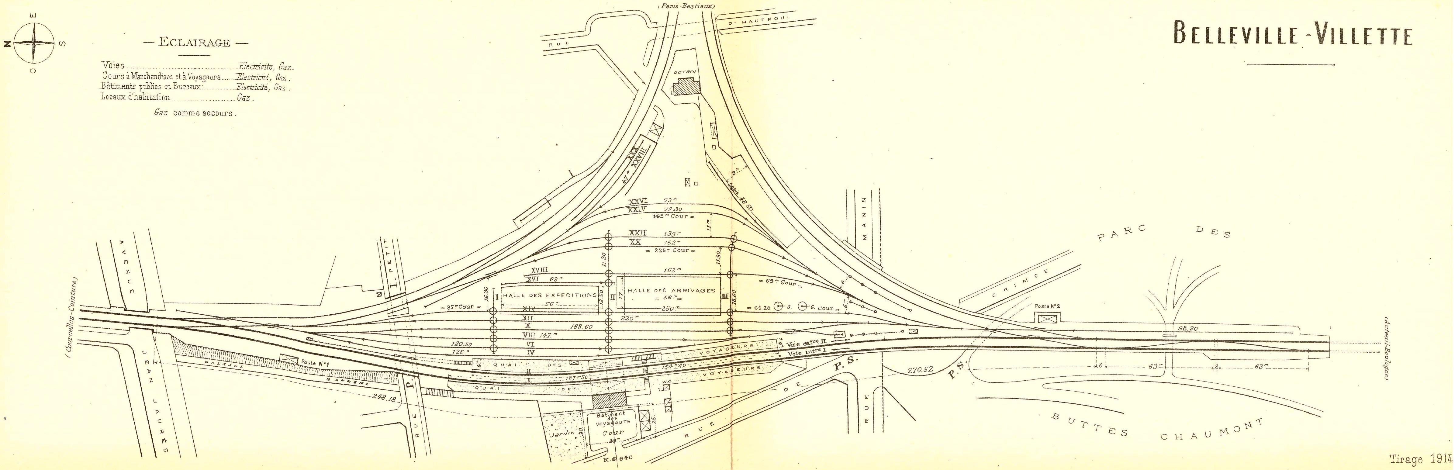 Gare de belleville villette voyageurs et marchandises for Plan de belle villa