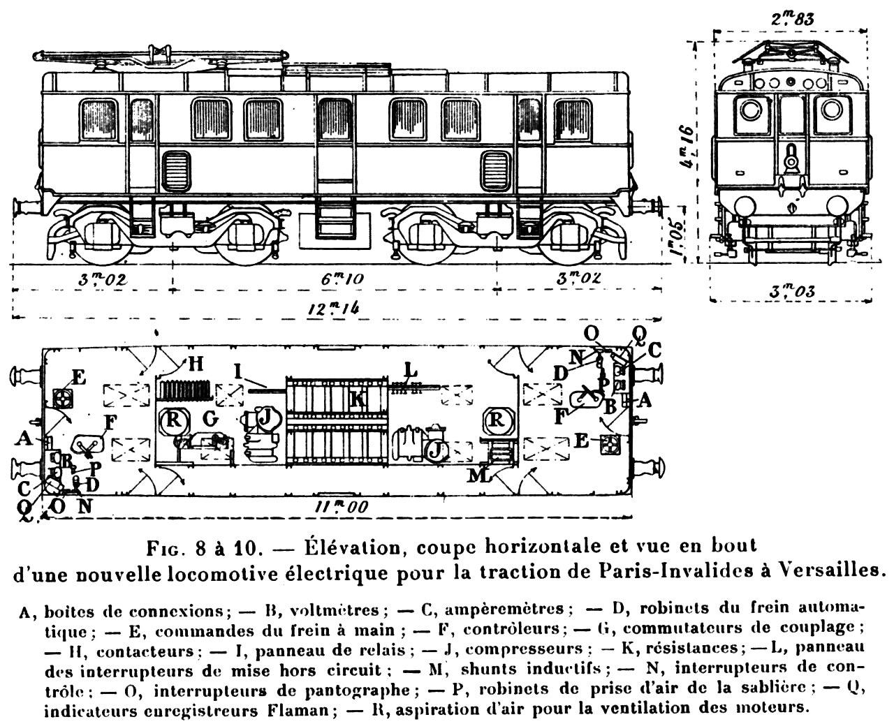 Plans des locomotives électriques de la ligne de Paris Invalides à ...