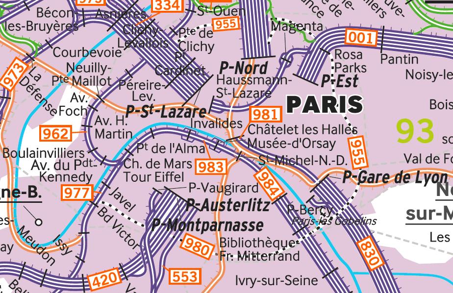 La Petite Ceinture sur la carte du Réseau Ferré français en 2017